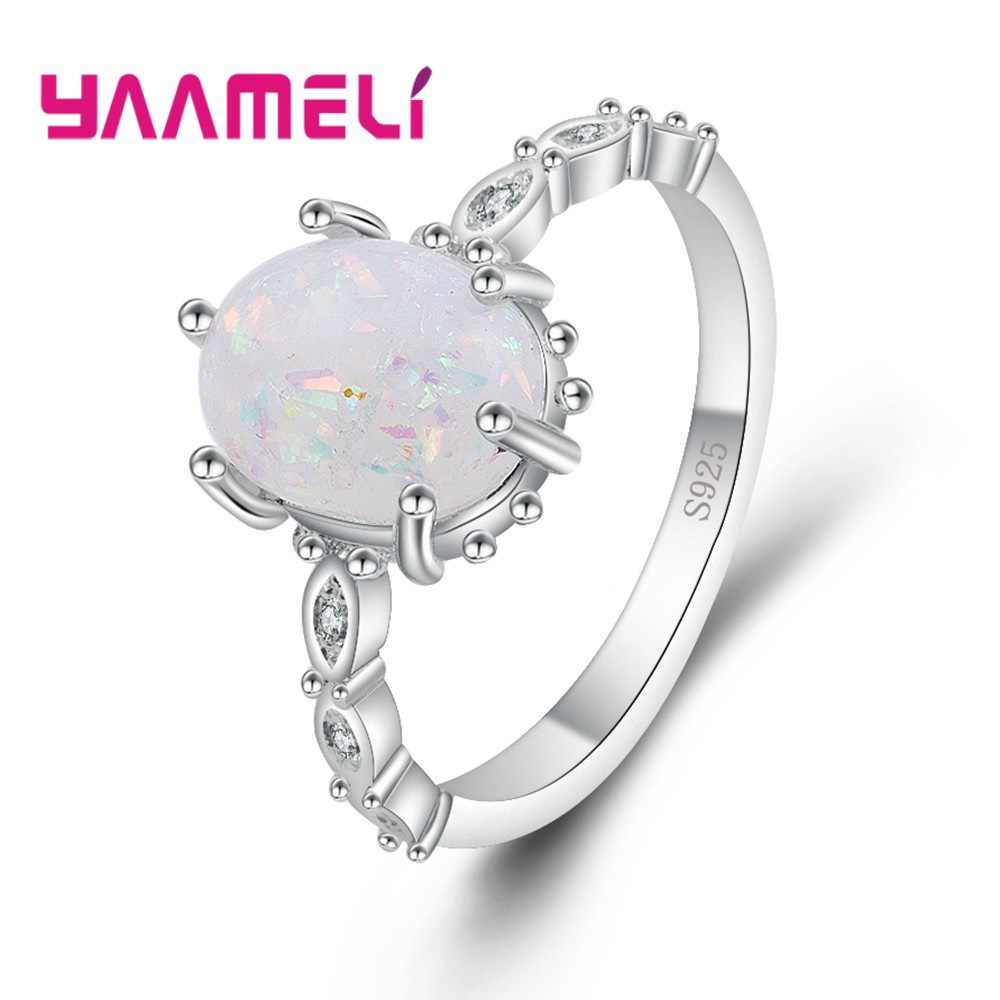 925 Sterling Silver Women Fashion Nature Stone Quartz Opal Ring Jewelry Oval Shape Druzy Rings Gifts Bijoux Free Shipping
