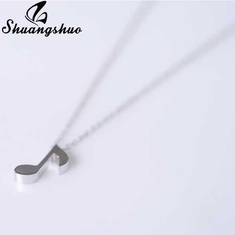 Shuangshuo Boho Jewelry Choker Delicate Musical Note Pendant Necklace for Women Music Note Symbol Chain Necklaces & Pendants