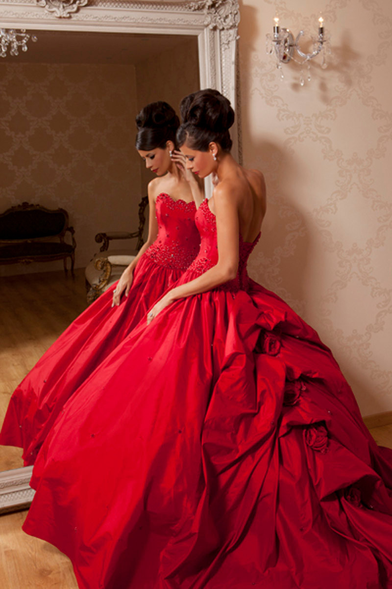 Hot Beautiful Red Ball Gowns Court Train Off The Shoulder Strapless ...