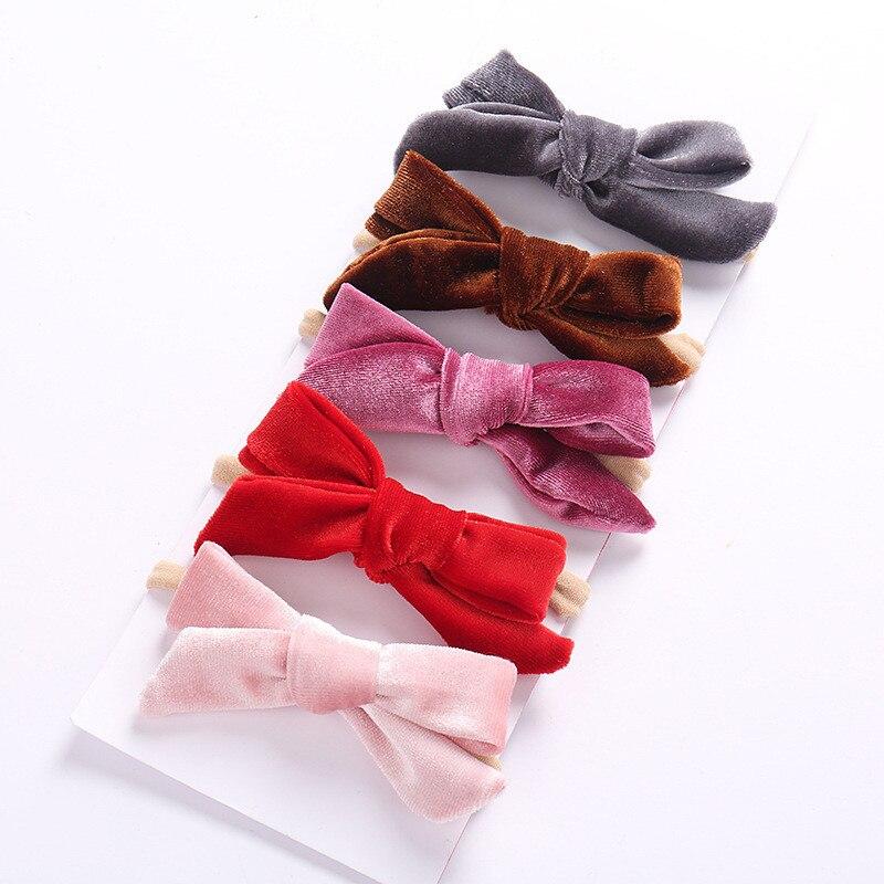 Dejorchicoco 13 цветов 13 шт. новорожденных детей обувь для девочек бархат повязки на голову мягкие эластичные нейлоновые оголовья с бантиком