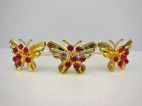 200 Pcs/lot NEW Gold Butterfly Red Crystal Rhinestone Wedding Bridal Women Girl Hair Pins Hair Clip Hair Sticks hair ornament