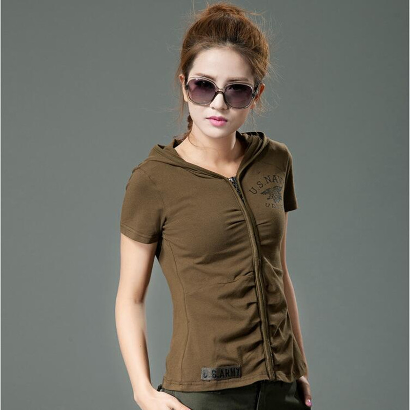 New Women Camouflage Short Sleeve Hooded T shirt Military Tactical Urban Camo Tee Shirts S port