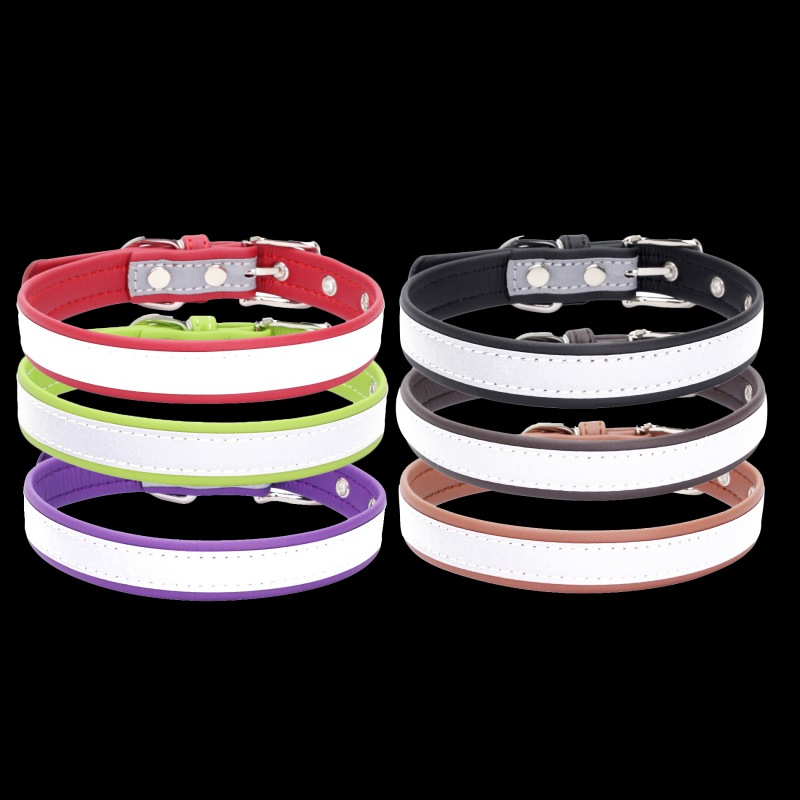 Reflective Microfiber Pet Collar Visual Distance of 800m Security Microfiber Material Reflective Night Wear-resistant Soft