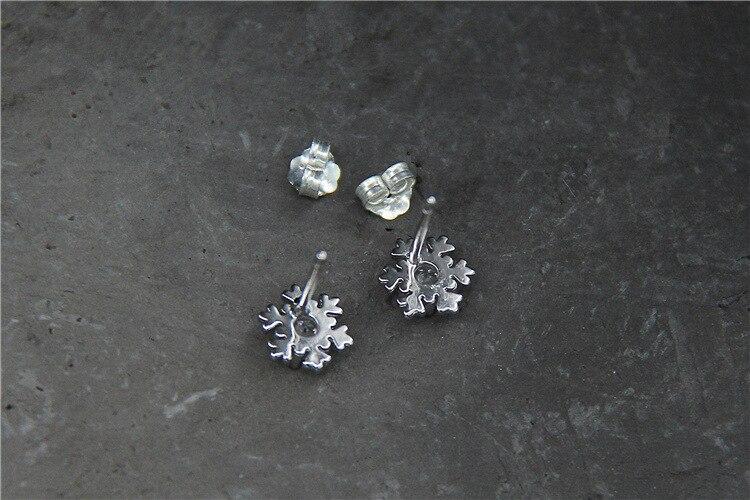 GLSEEVO 925 ստերլինգ արծաթե Snowflake Stud - Նուրբ զարդեր - Լուսանկար 3