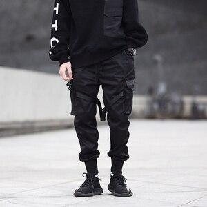 Image 3 - 男性リボン色ブロック黒ポケット貨物パンツ 2020 ハーレムジョギング原宿 Sweatpant ヒップホップズボン