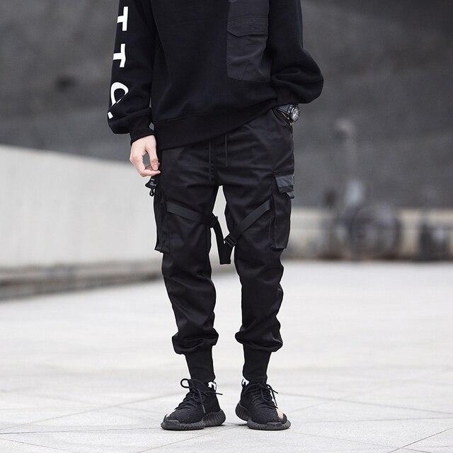 Men Ribbons Color Block Black Pocket Cargo Pants 2020 Harem Joggers Harajuku Sweatpant Hip Hop Trousers 3