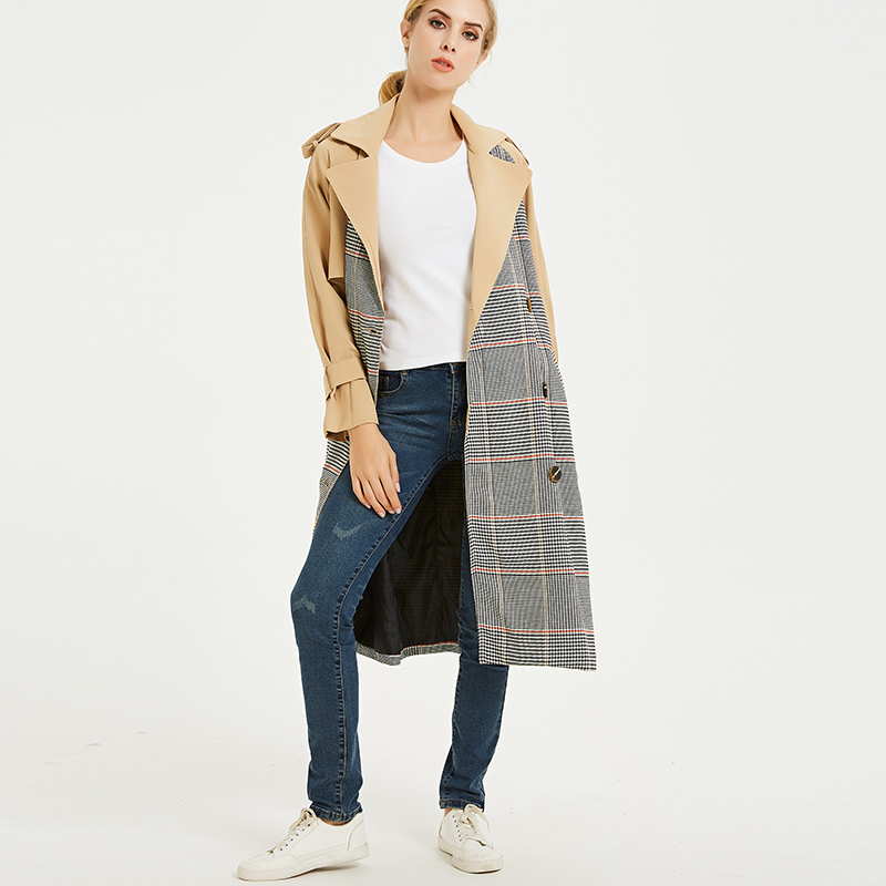 Trench Coat for Women 2019 High Street Double Breasted Plaid Turn-down Collar Autumn X-Long Women's Overcoat with Pocket