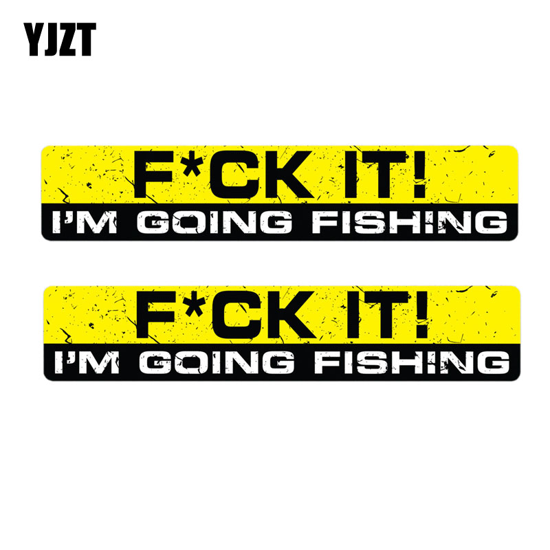 YJZT 15CM*3CM 2X I'M GOING FISHING Reflective Personality Car Sticker Motorcycle Parts C1-7615