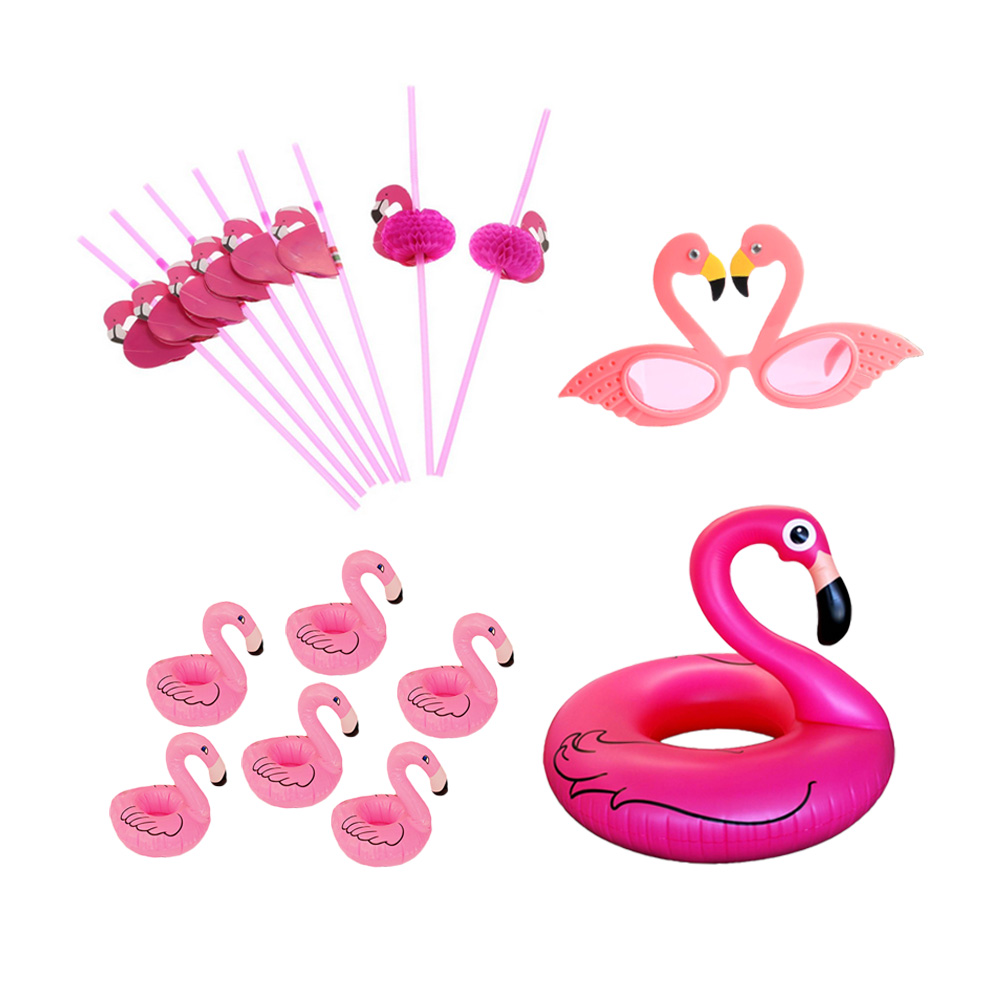 Flamingo swimming ring and glasses straw drink holder Festival Party Supplies Decoration