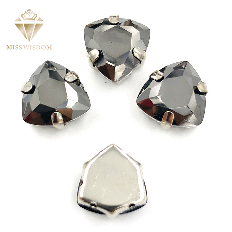 12mm Fat Triangle Metallic black High quality Glass Crystal sew on rhinestones sliver base with hole diy clothing accessories in Rhinestones from Home Garden