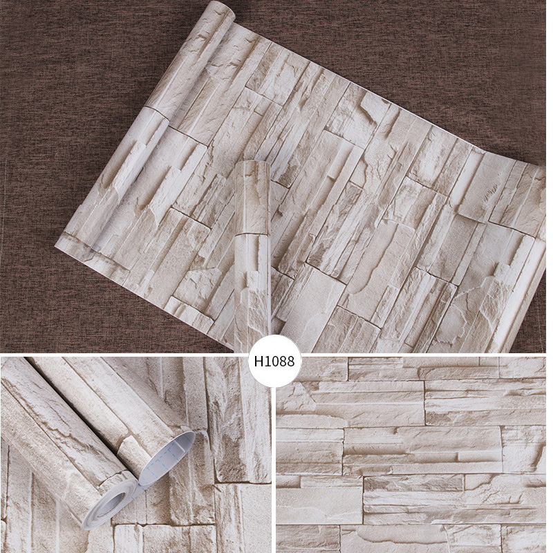 10m Length Vintage Self Adhesive Brick Culture Stone Wallpaper Living Room Restaurant Thick Texture PVC Waterproof Wallpapers