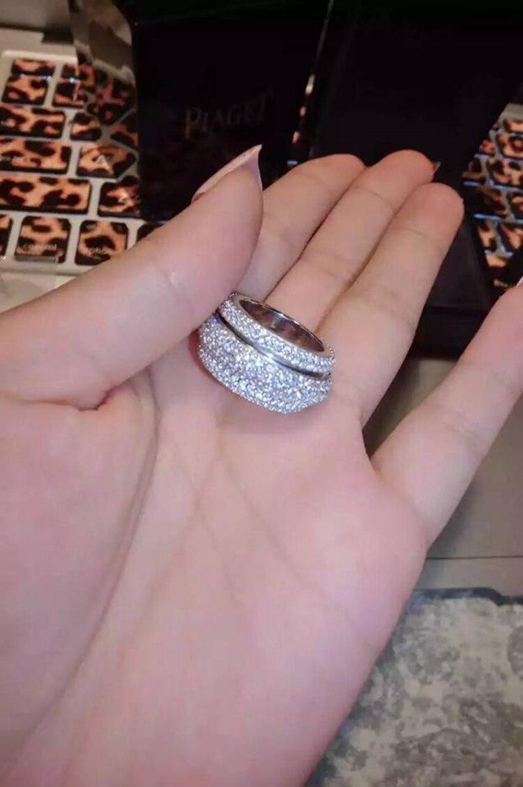 2018 nouveauté Top vente tout nouveau Pave complet 5A zircone superbe bijoux 925 en argent Sterling femmes mariage bague cadeau - 5