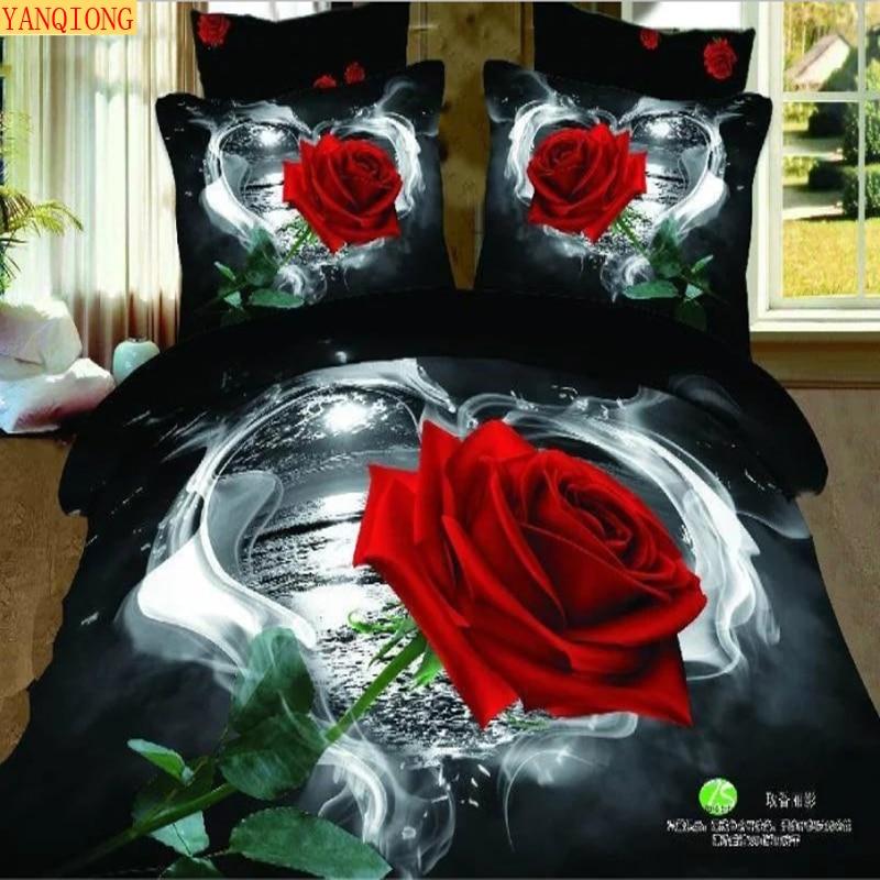 Yanqiong the king size 3d series 100 cotton reactive for Housse de couette noir et rose