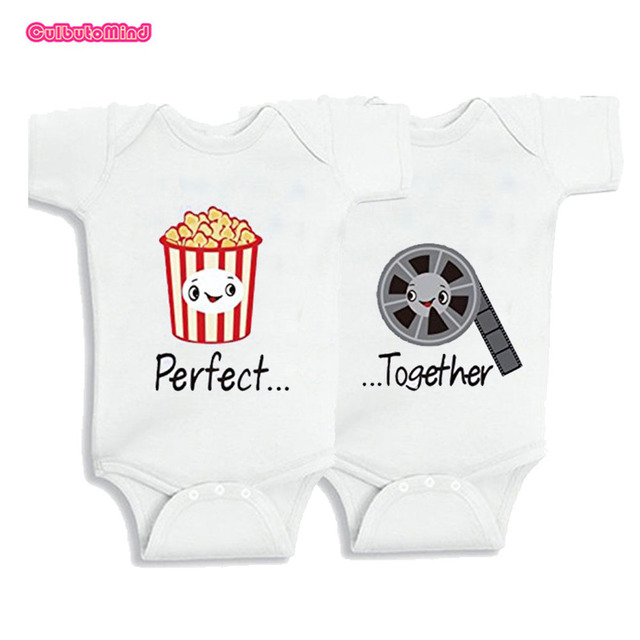 Baby 100%Cotton clothes twins baby Clothes perfect together twins Baby Clothing Short Sleeved Outfit Vest Romper 0-12M baby