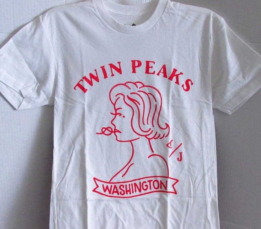 Twin Peaks Washington Graphic White Tee Shirt Crew Neck Mens Size: XS