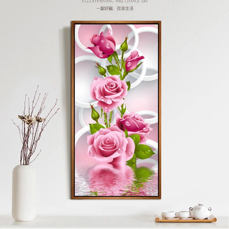 5d needlework diy diamante pintura ponto cruz rosa rosa diamante bordado flor impressão vertical rodada broca home decor lh8s