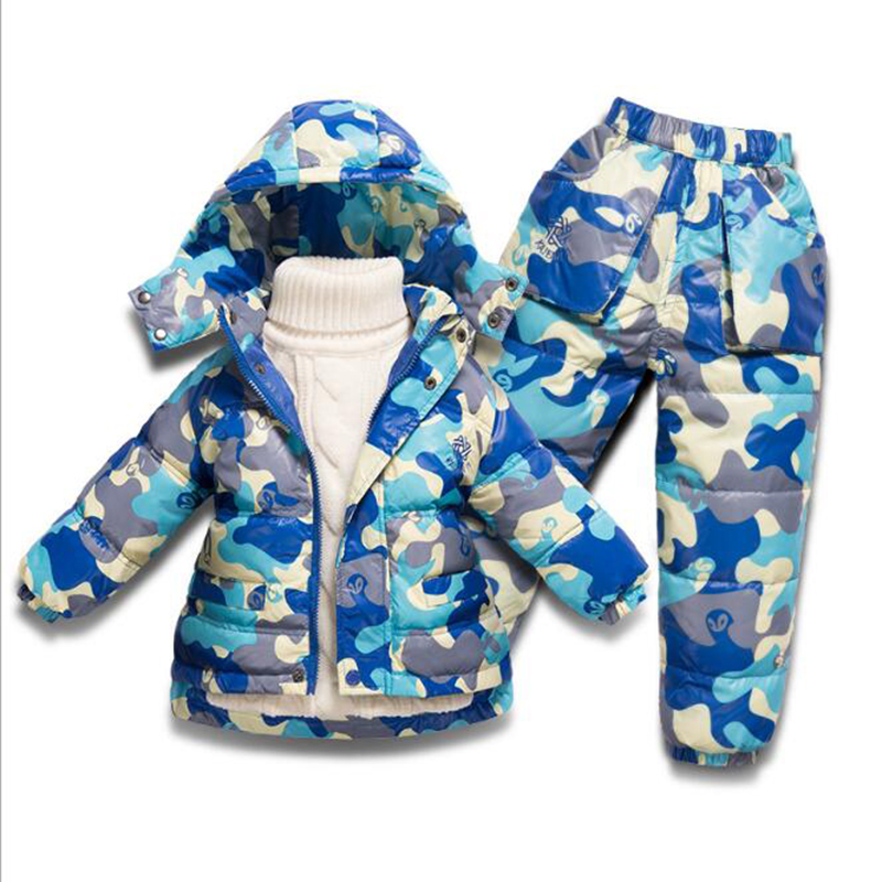 Children Boys Girls Winter Warm Down Jacket Suit Set Thick Coat+Pants Baby Clothes Set Kids Hooded Jacket With Hood toddler girls hello kitty clothes set winter thick warm clothes plus velvet coat pants rabbi kids infant sport suits w133