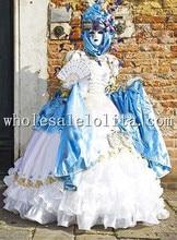 Deluxe Blanco Victorian vestido de Bola Femenina Partido de Cosplay Del Vestido de Carnaval de Venecia