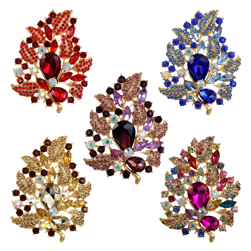 baiduqiandu Large Size Beautiful Shinning Glass Crystal Leaf Brooch Pins Jewelry Gifts for Women in 5 Colors