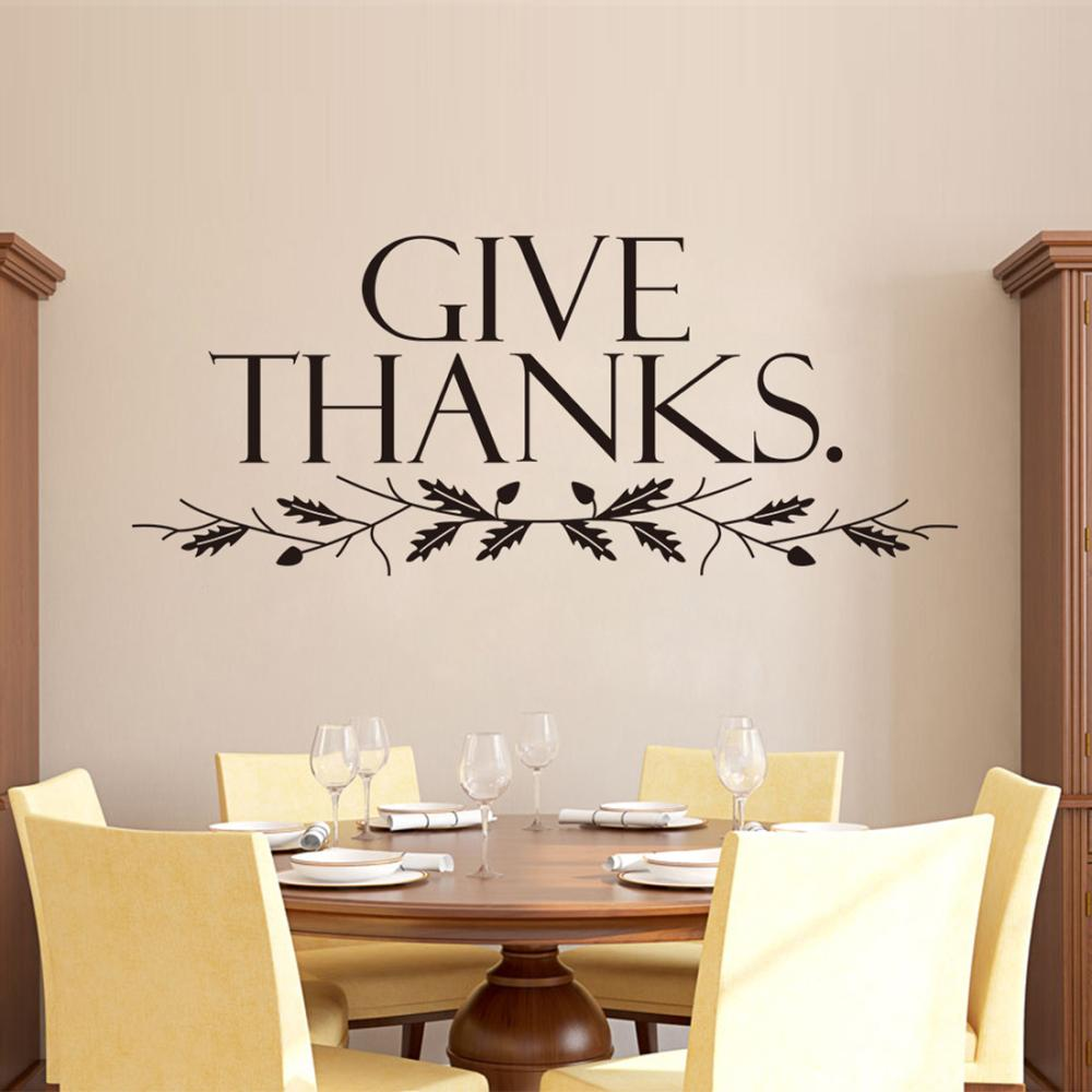 Give Thanks Art Quote Home Decor Stickers Christian Family Wall - Wall decals christian