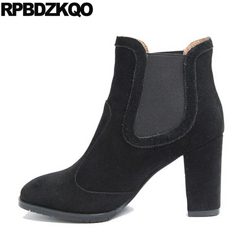 Chunky Genuine Leather Shoes Round Toe British Fall Booties Autumn Women Ankle Boots 2016 High Heel Slip On Suede Chelsea Black strange heel women ankle boots genuine leather elastic booties wedge shoes woman high heels slip on women platform pumps