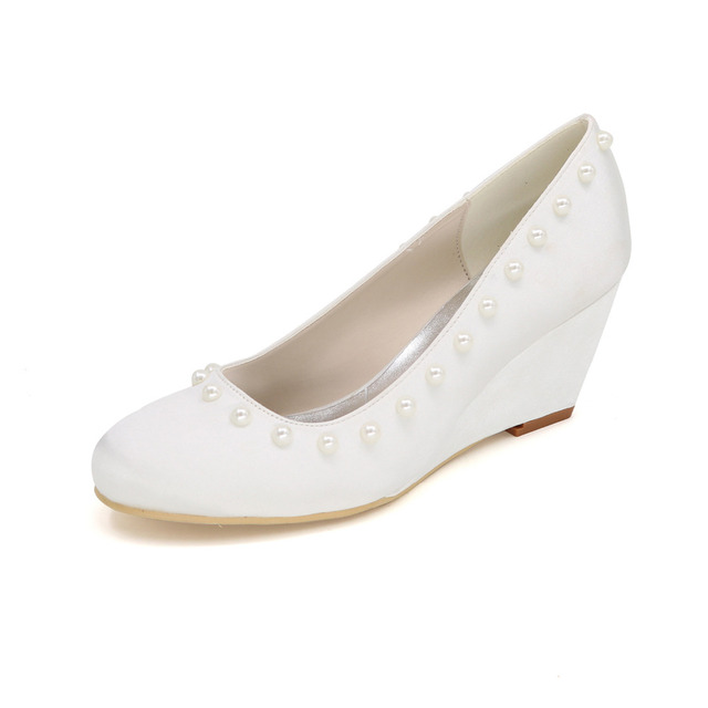 e7abf9c7988 Closed toe wedge heels elegant pink pearl button satin dress shoes royal  blue purple red champagne white ivory wedges party prom