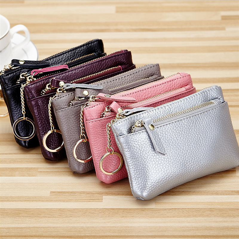 Women Wallet mini Genuine Leather Small Coin Purse Multi function Double Zipper Key Purse High Quality Female Wallets Short 2019 in Wallets from Luggage Bags