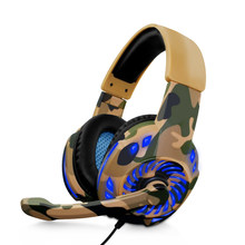 Camouflage Headset Bass Gaming Headphones Game Earphones Casque with Mic LED Light for PC Mobile Phone New Xbox One Tablet(China)