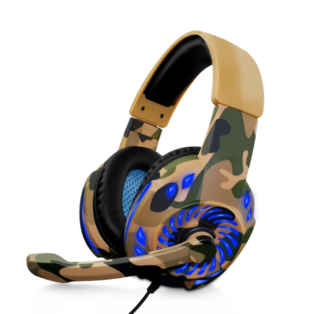 Camouflage Headset Bass Gaming Headphones Game Earphones Casque with Mic LED Light for PC Mobile Phone New Xbox One Tablet