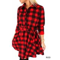2017 Women Fall Winter Casual Belt Dress Broadcloth Red Black Plaid Dress Cropped Sleeves Shirt Free