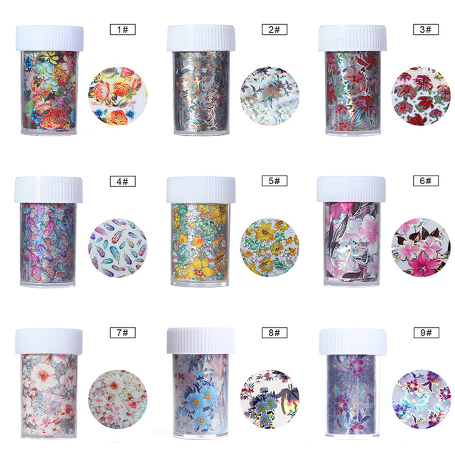 Colorful Flower Holographic Nail Foil
