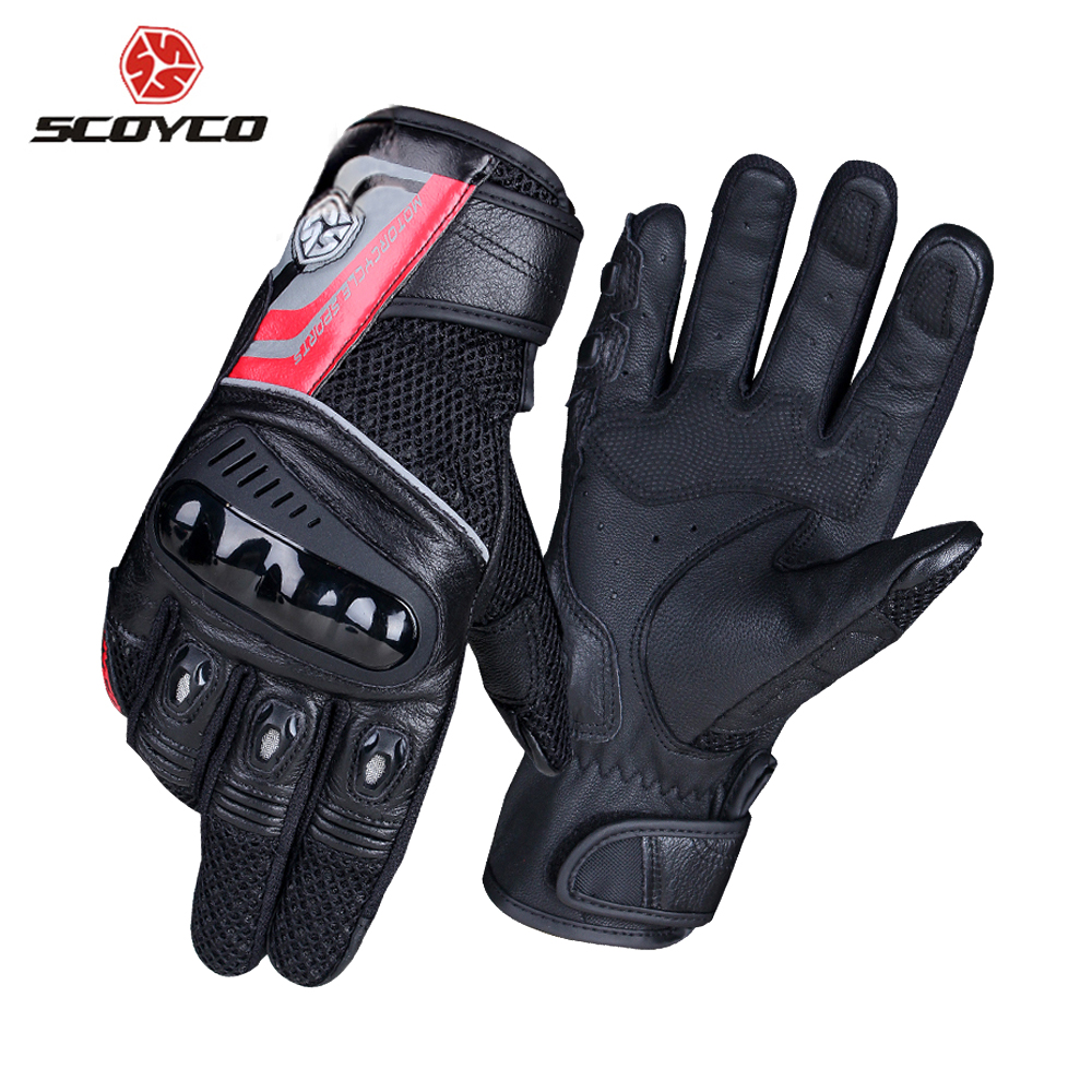 SCOYCO Motorcycle Gloves Breathable Wearable Leather Racing Gloves Motorbike Gant Moto Motocross Guantes Moto Gloves Motorcycle racmmer cycling gloves guantes ciclismo non slip breathable mens