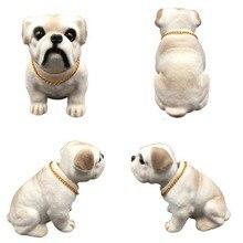 Car Dashboard Bulldog Doll Auto Shaking Head Dog Toy Car Ornament Nodding Dog Car Accessori
