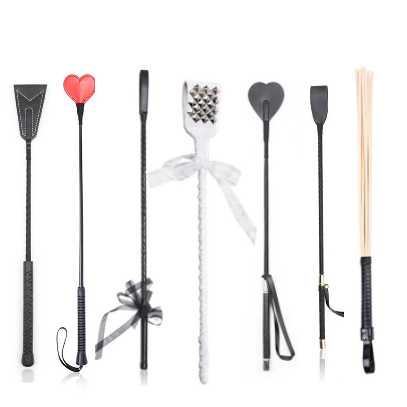 BDSM Bondage Ratton Whip ,Straight Leather Prop Flogger Whip ,Spanking Cane Riding Crop Stick, Exotic Costumes SM Play Sex Toys