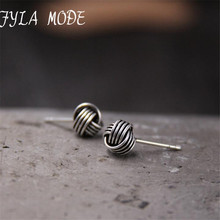 Fyla Mode New Real 925 Sterling Silver jewelry Twine Twisted Love Knot Stud Earrings Tinny Knot Ball Women's 7mm 5mm 3mm TYC172 minimalist gold silver color love knot earrings for women classic twisted stud earrings tie the knot wedding jewelry