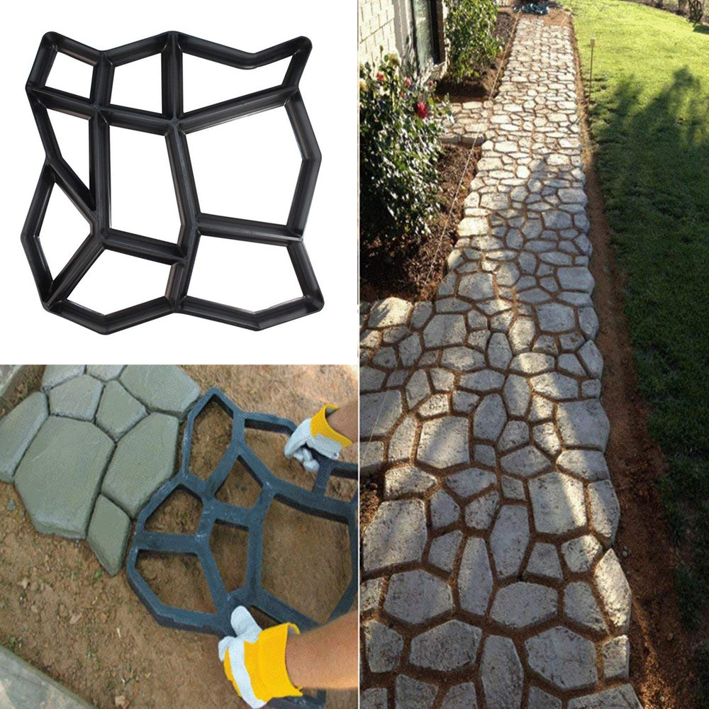 50^Road Concrete Stepping Driveway Stone Path Mold Patio Maker Black Plastic Making DIY Paving Mould Home Garden Floor