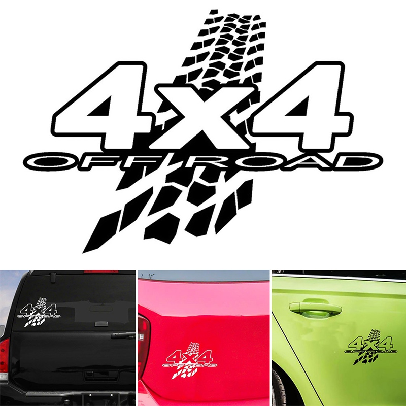 1pc New Personality 4X4 OFF-ROAD Reflective Vinyl Decals Car Sticker Car-styling Black White Color