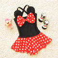 Korean Cartoon Minnie Dots Baby Swimwear Kids Girl Dress Beachwear Red and Black Color Beach Wear Swimming Swimsuit Bathing Suit