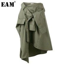 [EAM] новая весенняя Свободная юбка средней длины с завышенной талией, армейский зеленый Узелок, с неровным разрезом, Женская мода JG664