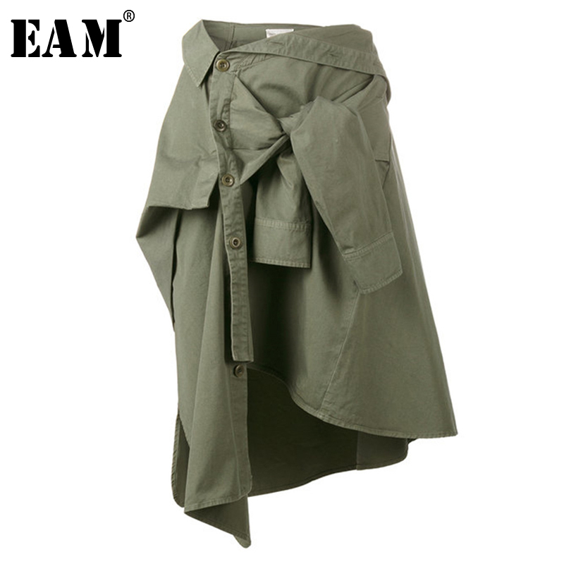 [EAM] 2020 New Spring High Waist Army Green Knot Irregular Split Joint Loose Half-body Skirt Women Fashion Tide JG664