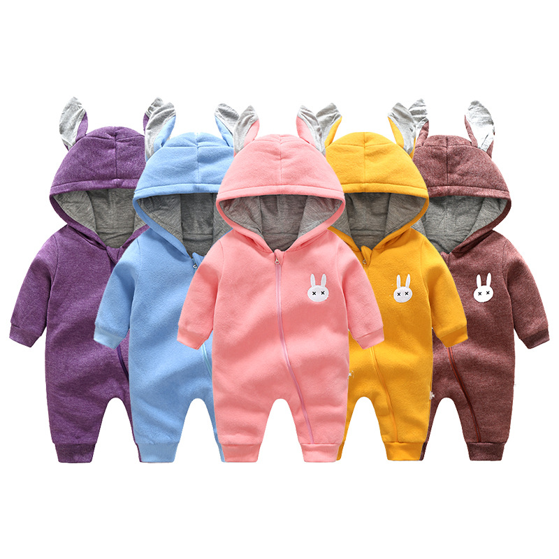 Cute rabbit Pattern Hooded Baby Rompers Newborn Clothing Cotton Long Sleeve Jumpsuits Autumn Winter baby Boys Girls Outerwear newborn winter autumn baby rompers baby clothing for girls boys cotton baby romper long sleeve baby girl clothing jumpsuits