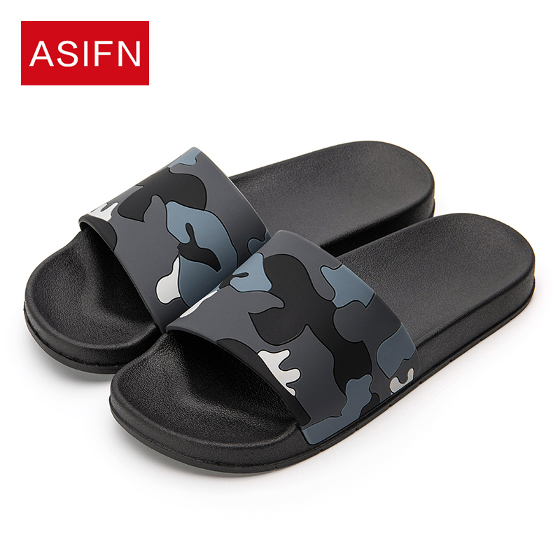 ASIFN Men Slippers Casual Shoes Non-slip Indoor Outdoor Summer Slides Camouflage Sandals 4 Colors Zapatos Hombre