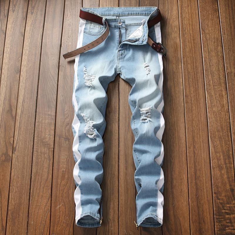 2018 New Arrived Men Side White Stripe Biker Jeans Denim Ripped Knee Holes Slim Supper Skinny Hip Hop Jeans Men