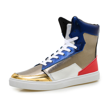 individuality designer fashion street shoes womens casual dance flats shoes high top chaussure homme woman shoes red silver colo