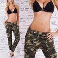 Mujeres Ejército Verde Militar Pantalones Slim Fit Pantalones de Carga de Combate de Camuflaje Pantalones Vaqueros