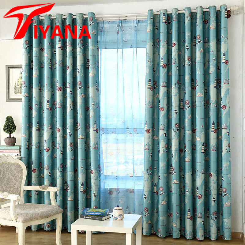 World Famous Scene With Ship   Lighthouse Pattern Blue   Red Curtains  Adventure theme For Children s. Popular Blue Red Curtains Buy Cheap Blue Red Curtains lots from