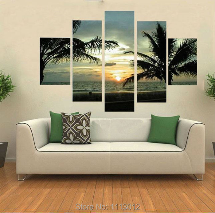 High Quality Palm Trees Sunset Oil Painting On Canvas 5 Pcs Sets Wall Art Picture For Living Room Home Decoration Modern Sale