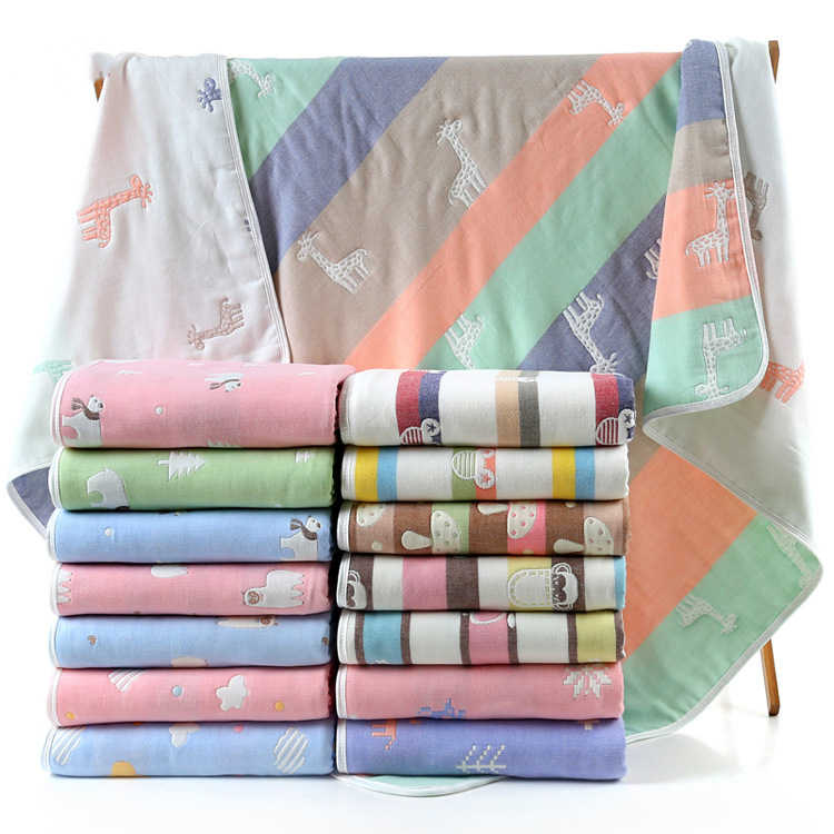 Baby Blanket 80*80CM Muslin Cotton 6 Layers Thick Newborn Swaddling Autumn Baby Swaddle Bedding Receiving blanket