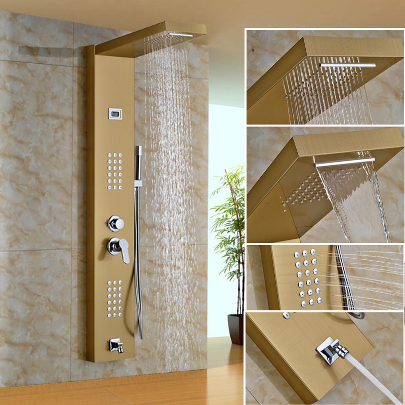 Capable Best Quality Cheap Price Wall Mounted Gold Finish Bathroom Shower Panel