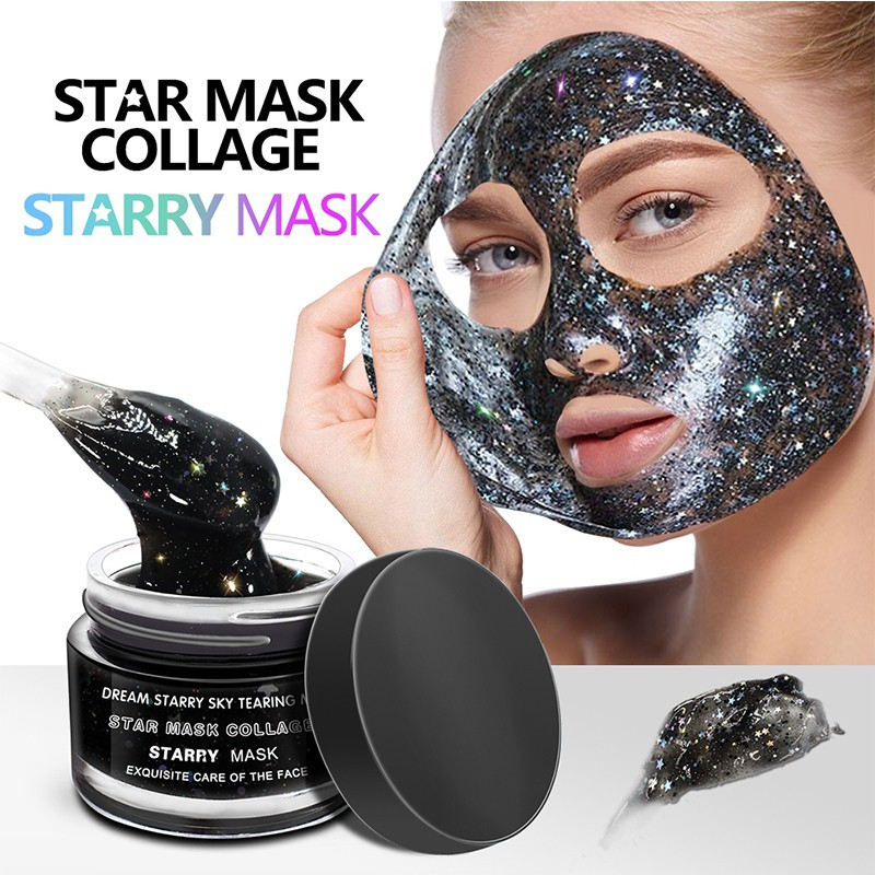 STAR MASK Glitter Gold Peel off Black Face Mask From Black Dots Blackhead Remover Whiten Korean Facial Face Care Masks 50g